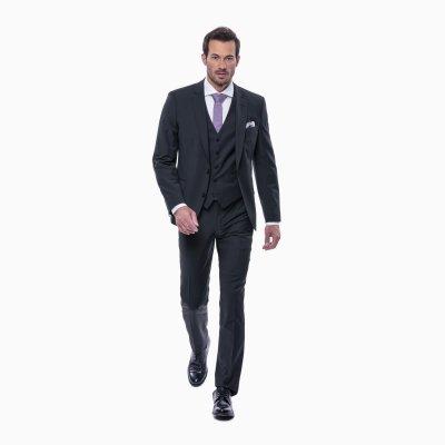 Pánsky oblek s vestou, čierny