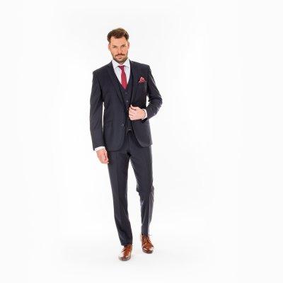 Pánský oblek s vestou, tmavomodrý