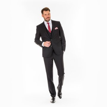 Pánský oblek s vestou, černý