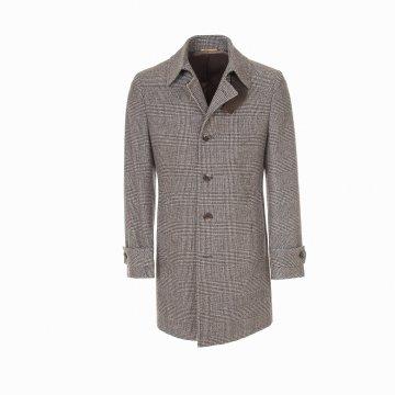 Kabát p. Z 3/4 s klopou,černo-bílé káro T6500000066