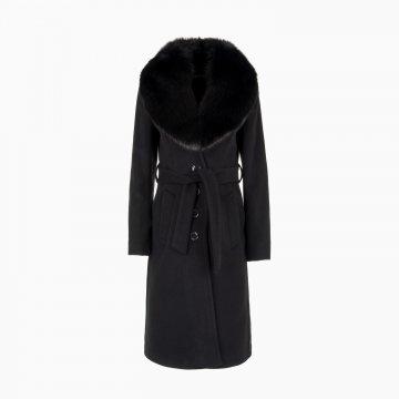 Dámsky vlnený kabát s odopínacím goliérom z polárnej líšky