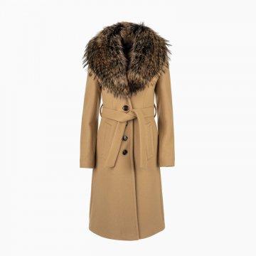 Dámsky vlnený kabát s odopínacím golierom z mývala
