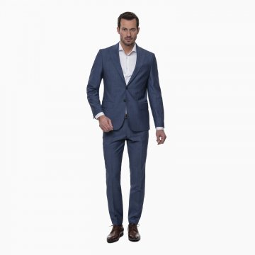 Pánsky oblek, 100% vlna, modrý