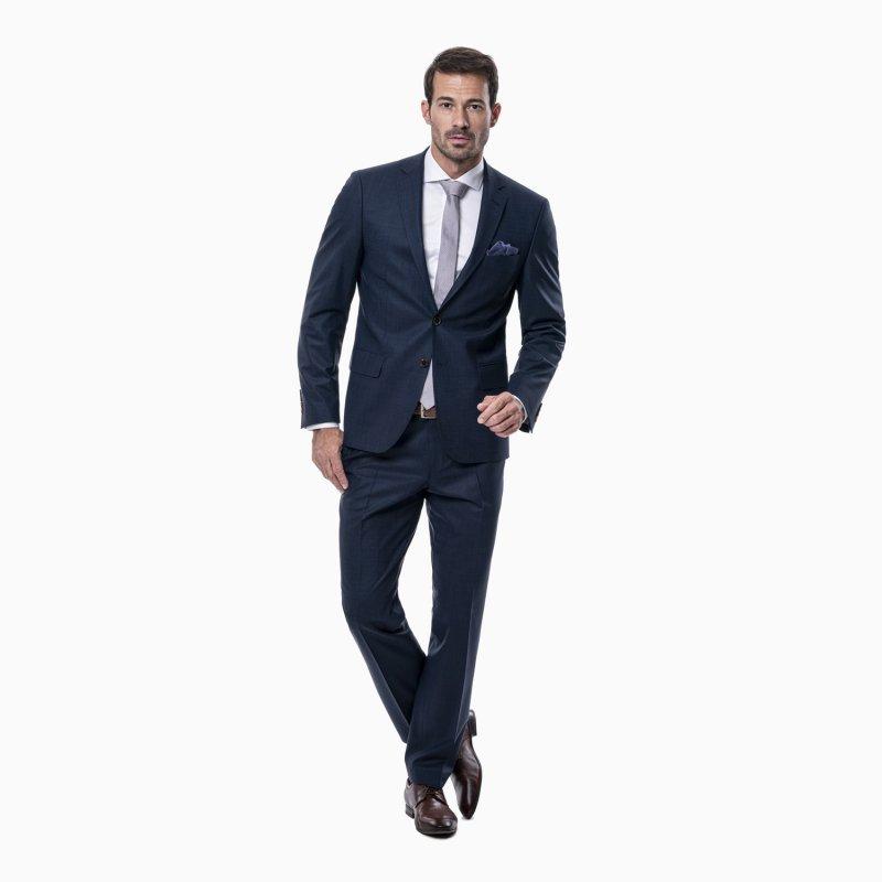 Pánský oblek s vestou, 88% vlna, modrá