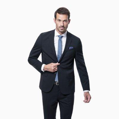 Pánsky oblek s vestou, 98% vlna, čierny