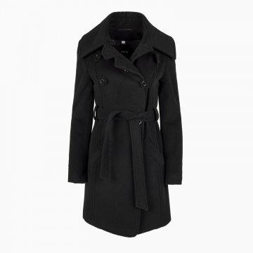 Dámsky vlnený kabát, dvojradový