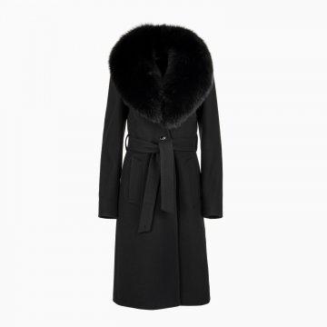 Dámsky vlnený kabát s odopínacím golierom z polárnej líšky