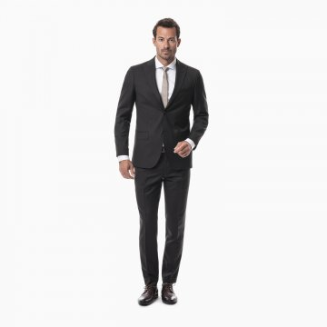 Pánsky oblek, 100% vlna, tmavohnedý