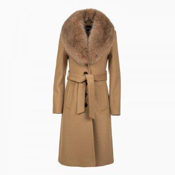 Dámsky vlnený kabát s odopínateľným golierom z polárnej líšky
